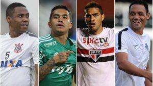 Montagem sobre fotos Agência Corinthians/Agência Palmeiras/Sãopaulofc.net/Santos/Divulgação