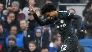 Willian comemora o segundo na vitória do Chelsea 0 a 4 Brighton & Hove