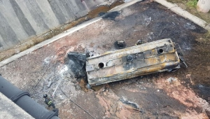 Caminhão pegou fogo ao despencar de viaduto no km 97 do Rodoanel Leste