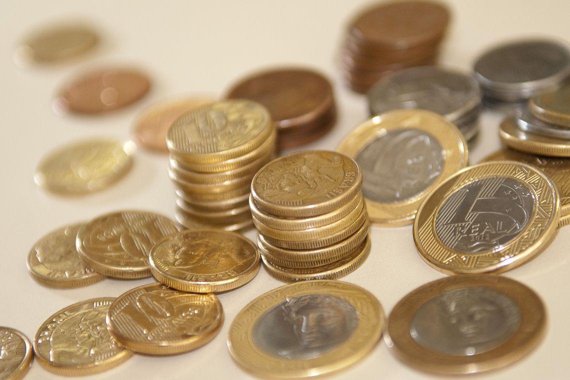Monte de moedas empilhadas