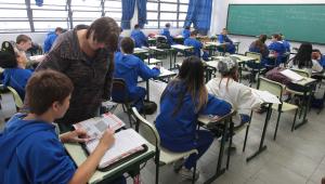 Sala de aula em escola estadual