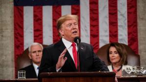O presidente Donald Trump, no tradicional discurso anual do Estado da União