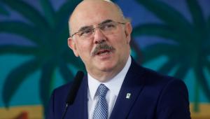 O ministro da Educação, Milton Ribeiro, durante pronunciamento