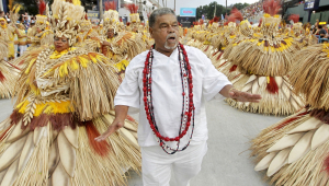 Laíla durante desfile de escola de samba