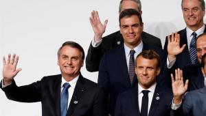 O presidente Jair Bolsonaro se reuniu nesta sexta-feira (28) com o presidente francês, Emmanuel Macron, durante a cúpula do G20 no Japão