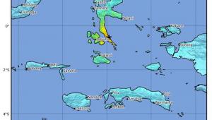 Um terremoto de 7,3 graus de magnitude atingiu neste domingo (13) o norte das ilhas Molucas, na Indonésia