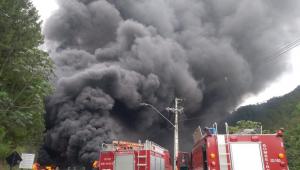 Motorista morre carbonizado após caminhão tombar e explodir na Tamoios