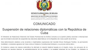 Bolívia corta relações diplomáticas com Cuba