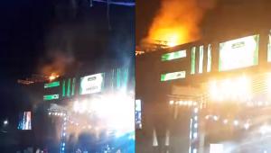 Palco de Gusttavo Lima pega fogo após uso de fogos durante show em PE