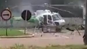 Caminhão colide com hélice de helicóptero no Acre; veja o vídeo