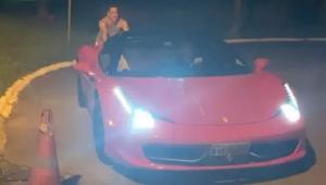 Perrengue chique: Leonardo empurra Ferrari após ficar sem combustível