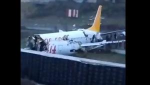 avião parte em três partes na Turquia