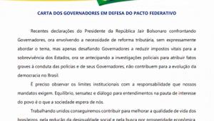 Governadores criticam falas de Bolsonaro e pedem diálogo com presidente