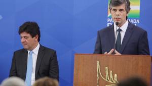 Ex-ministros da Saúde em coletiva no Palácio do Planalto