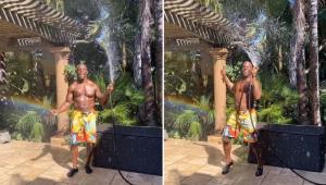 Terry Crews usa mangueira para dançar 'Rain On Me' em quintal; confira