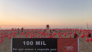 ONG protesta no Rio por quase 100 mil brasileiros mortos por Covid-19