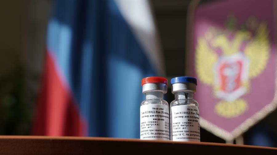 Frascos da vacina russa contra a Covid-19, Sputnik V