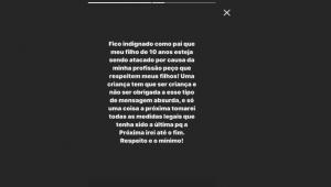 Filho de Fagner é ameaçado no Instagram, e lateral se posiciona: 'indignado'