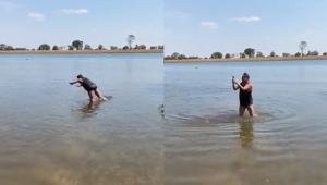 Leonardo dá bote em rio e pega peixe com a mão; veja o vídeo