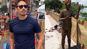 Moradores impedem que estátua de Carlinhos Maia seja inaugurada em cidade natal