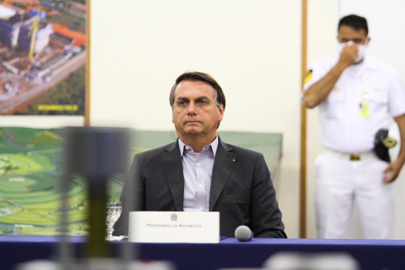 O presidente Jair Bolsonaro durante visita à unidade da Marinha em Iperó (SP)