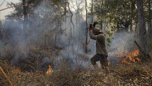 Homem tenta apagar foto no Pantanal