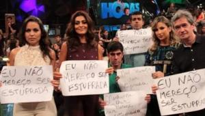 Marcius Melhem segurando placa 'eu não mereço ser estuprada' em foto antiga gera polêmica