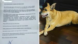 Família recebe carta anônima com ameaça de morte à cachorra: 'Vai morrer silenciosamente'