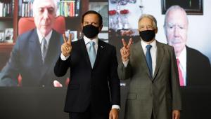 Doria reúne José Sarney, Michel Temer e FHC em ato pró-vacina contra Covid-19