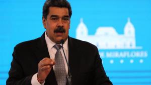 Presidente da Venezuela, Nicolás Maduro, falando à imprensa