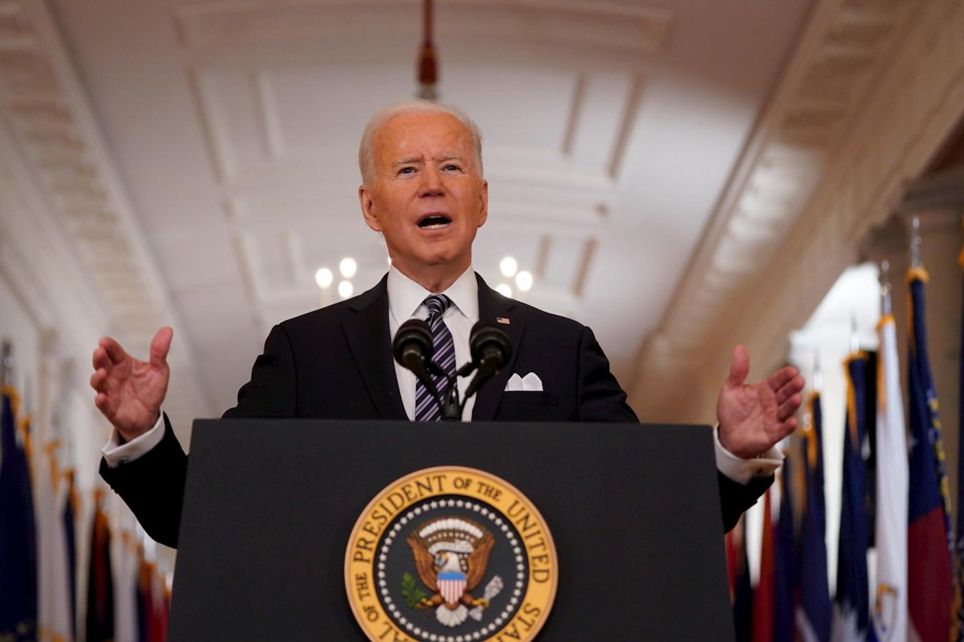 O presidente dos Estados Unidos, Joe Biden, durante pronunciamento aos americanos