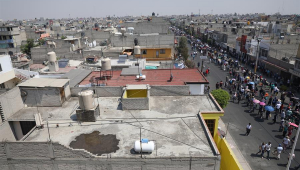 Vista aérea de Nezahualcóyotl, no México