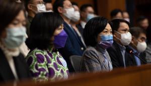 Membros de partido pró-Pequim participam de sessão no Conselho Legislativo de Hong Kong