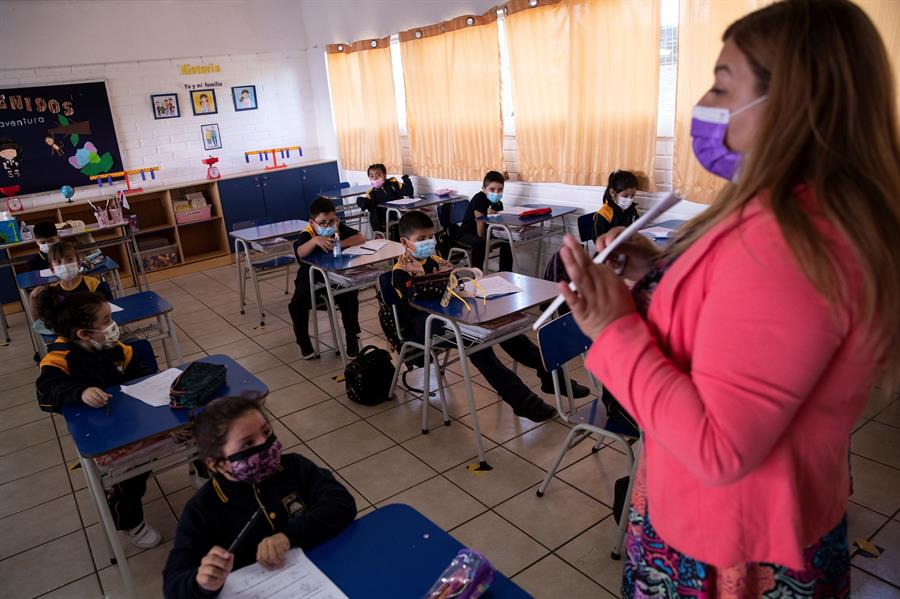 sala de aula no Chile durante a pandemia de Covid-19