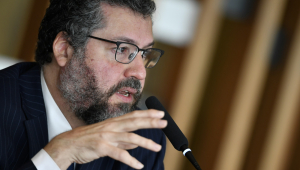 Ministro das Relações Exteriores, Ernesto Araújo, durante coletiva de imprensa