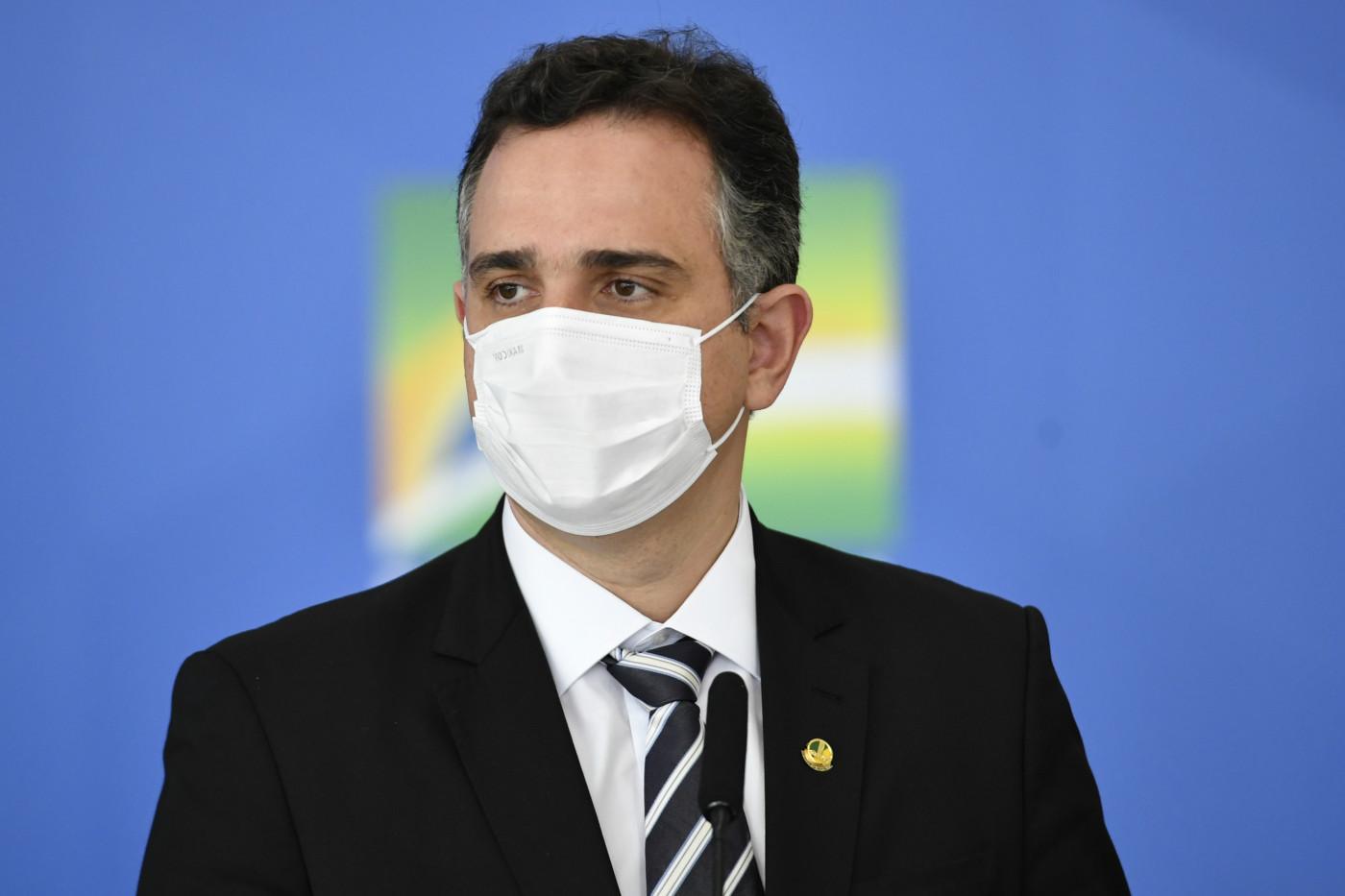 presidente do Senado, Rodrigo Pacheco durante evento