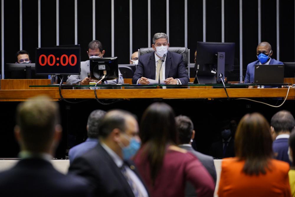 O presidente da Câmara dos Deputados, Arthur Lira, durante pronunciamento na Casa