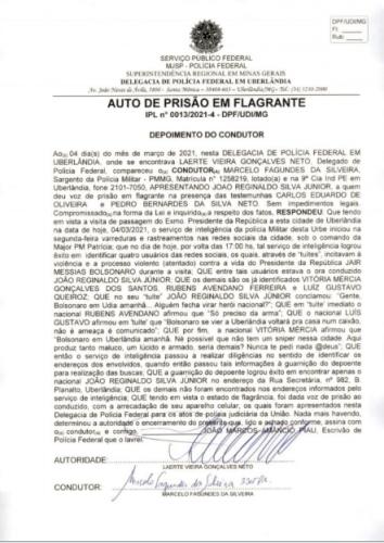 Auto de prisão em flagrante contra João Júnior