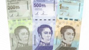 Notas venezuelanas de 200 mil, 500 mil e 1 milhão de bolívares