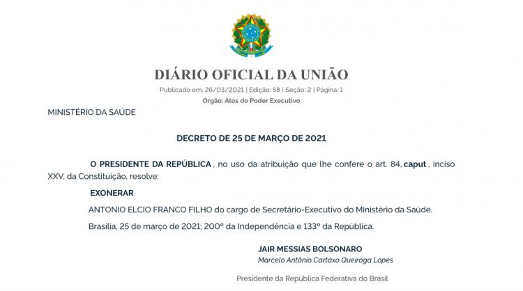 Decreto de exoneração de Élcio Franco do cargo de secretário-Executivo do Ministério da Saúde