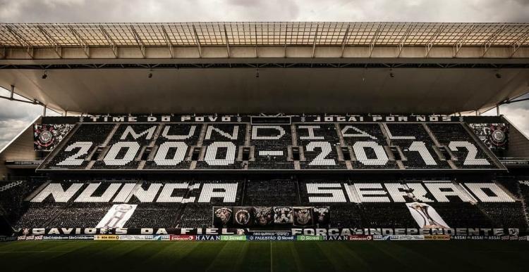 mosaico do Corinthians que PM pediu para ser retirado da Neo Química Arena