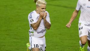 Soteldo comemora o gol do Santos na Libertadores