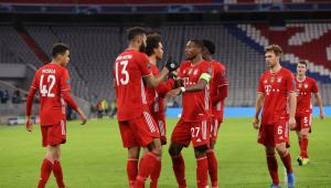 time do bayern de munique comemora vitória na liga dos campeões