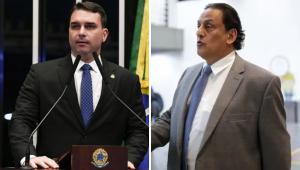 Montagem do senador Flávio Bolsonaro e seu advogado Frederick Wassef