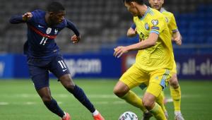 Dembélé durante vitória da França contra o Cazaquistão