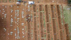 Imagem aérea de covas sendo abertas no Cemitério da Vila Formosa, em São Paulo