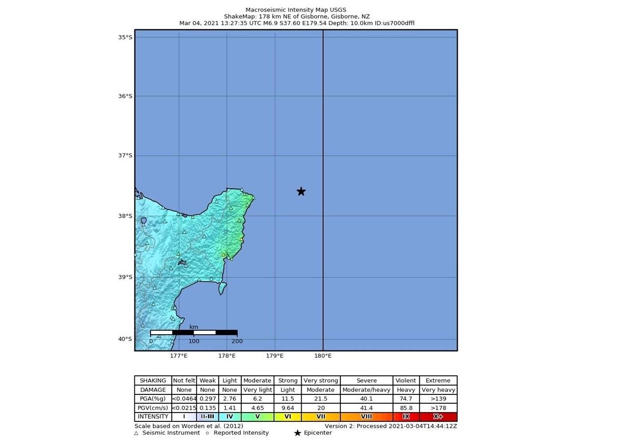 Mapa ilustrado mostra o local exato onde foi registrado um terremoto no mar da Nova Zelândia