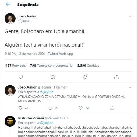 Tuíte de jovem de Uberlândia sobre visita de Bolsonaro