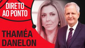 montagem com foto de Thamea Danelon e Augusto Nunes, com o nome do programa Direto ao Ponto