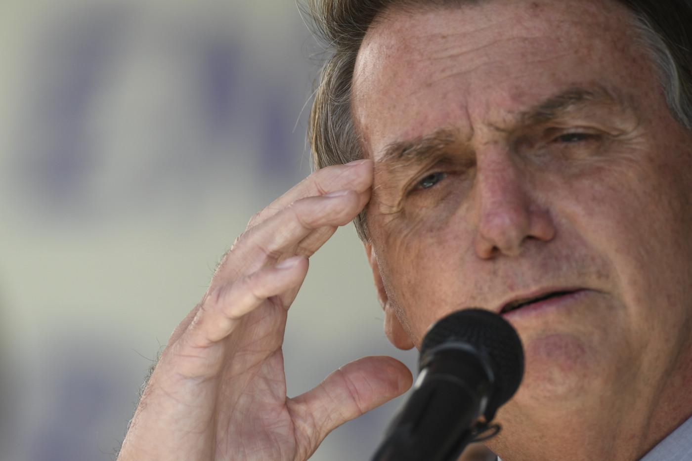O presidente da república, Jair Bolsonaro, durante pronunciamento